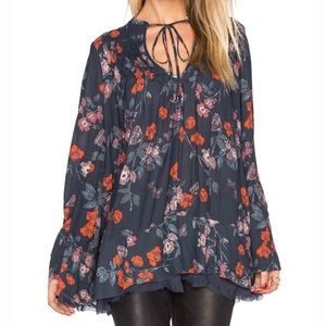 Free People So Fine Smoked Floral Tunic Top Blouse